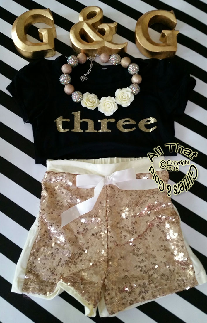 Black and Gold 2nd, 3rd Year Birthday Outfit With Gold Sequin Shorts