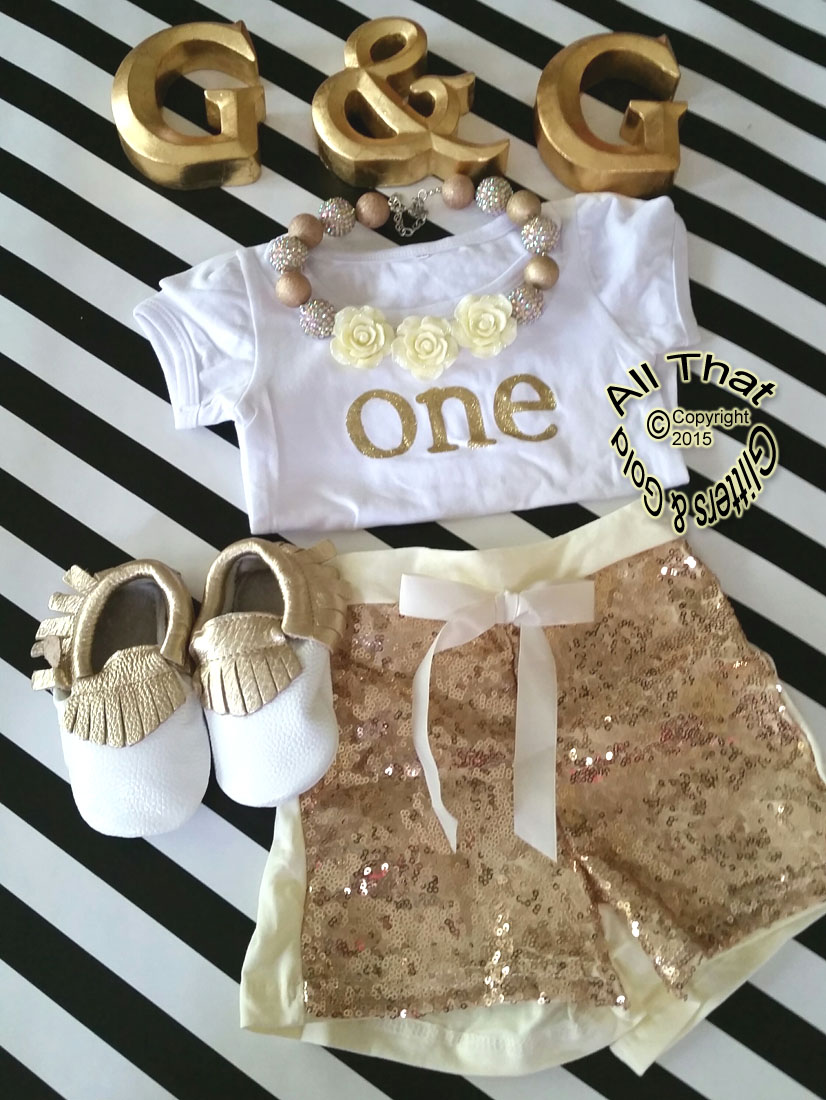 White and Gold One 1st Birthday Outfit With Gold Sequin Shorts