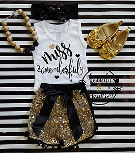 Black and Gold Miss One-derful With Gold Sequin Pom Pom Shorts
