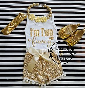 Custom Order Tekeyah - Ivory and Gold I'm Two Fancy With Gold Sequin Pom Pom Shorts