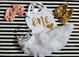 White and Gold Glitter One or Two 1st or 2nd Birthday Tutu Dresses For Baby Girls