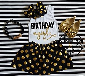 Black and Gold Polka Dot Birthday Girl Outfit For Girls Ages 2 to 8