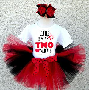 Black, Red and White Little Miss Two Much Birthday Tutu Outfit For Two Year Olds