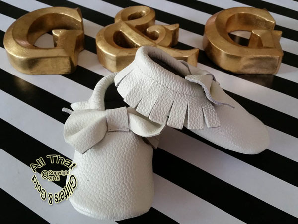 Leather White Soft Soled Baby Moccasin Shoes With Bows