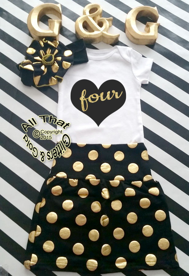 Black and Gold Glitter Heart With Age Birthday Pencil Skirt Outfit