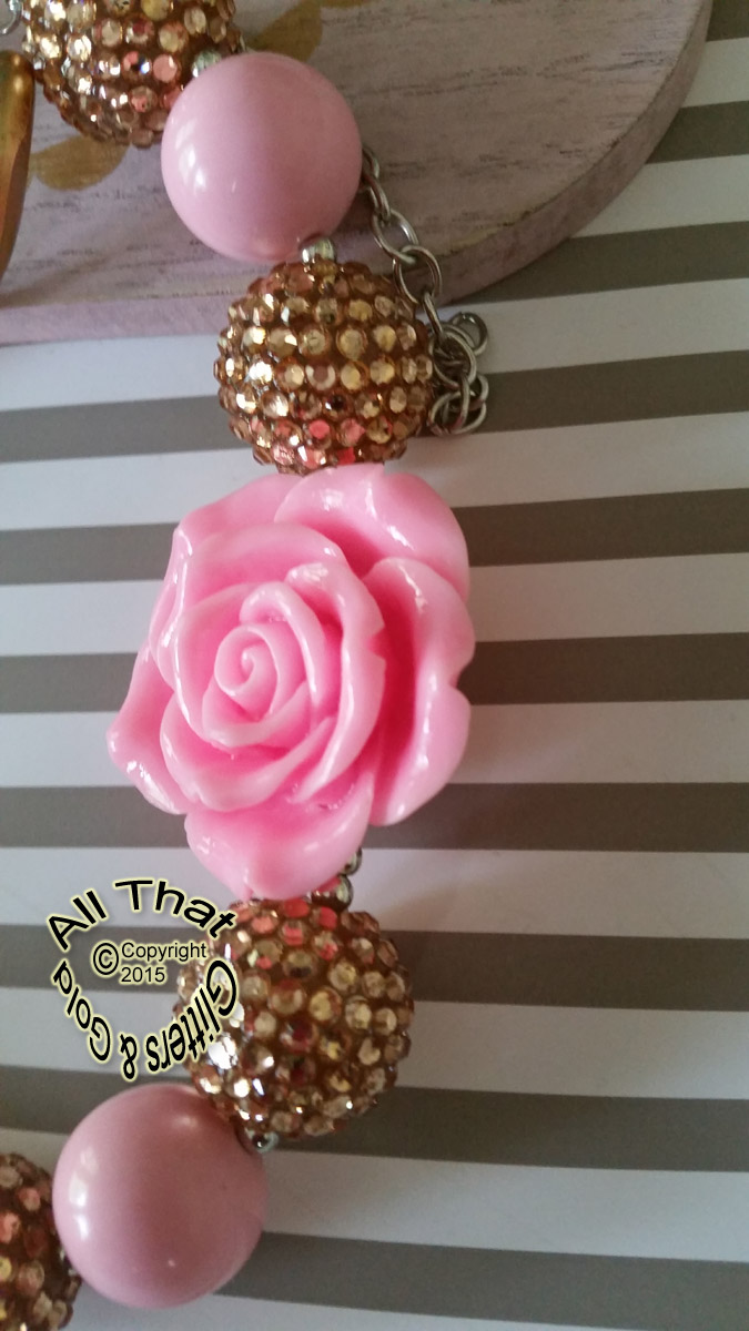 Pink and Gold Glitter Sparkly Chunky Baby Girls, Little Girls and Women's Flower Necklace