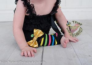 Black Polka Dot and Striped Baby Girl Leg Warmers With Gold Bow