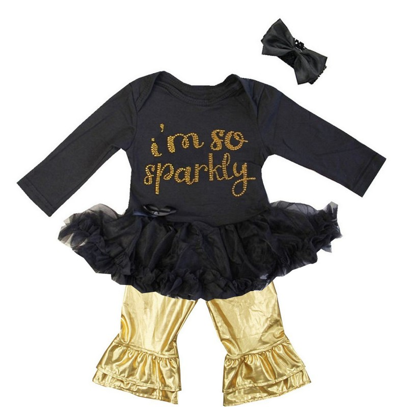 Black and Metallic Gold 3 Pc I'm So Sparkly Rhinestone Baby Girl Pants Outfit
