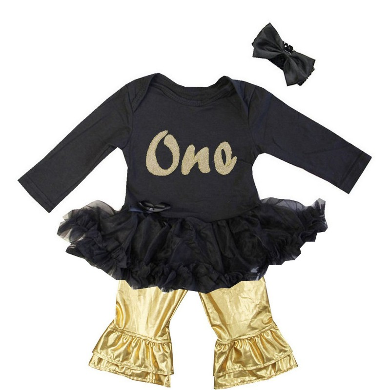Black and Metallic Gold 3 Pc One Baby Girl Birthday Pants Outfit