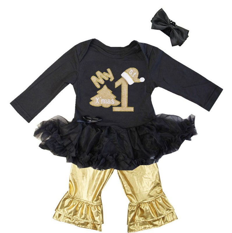 Black and Metallic Gold 3 Pc My 1st Christmas Baby Girl Pants Outfit