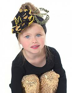 Black and Gold Polka Dot Big Flower Baby Little Girls Headbands