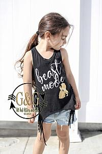 Beast Mode Fringe Tank Top Shirts For Toddlers and Big Girls