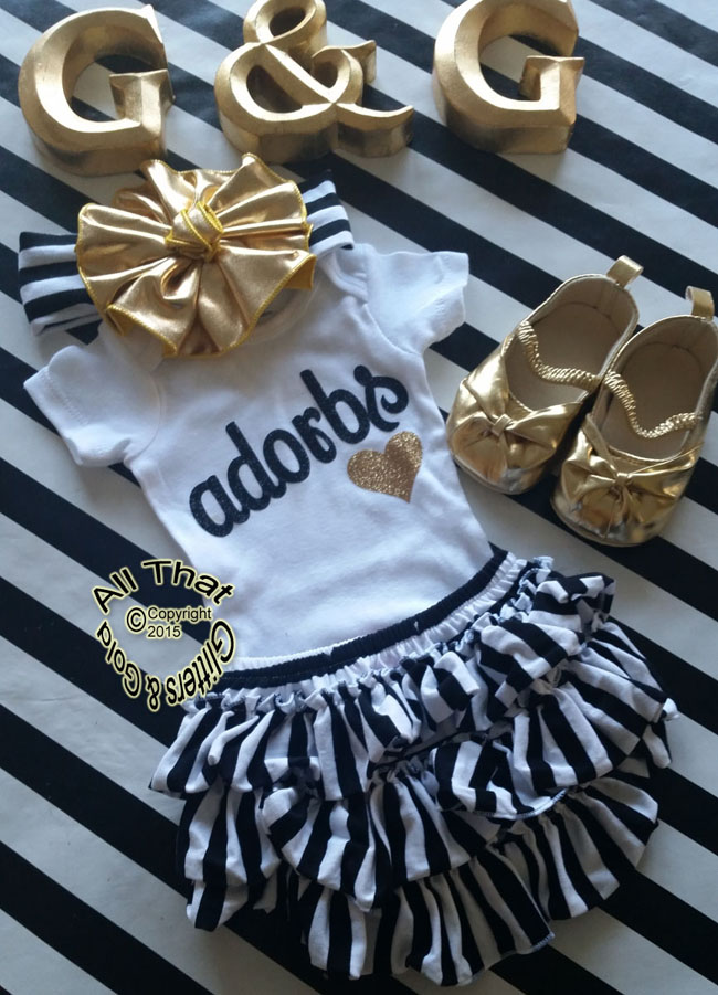 Black and Gold Glitter Adorbs Baby Girl and Little Girl Shirt