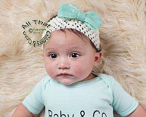 Baby and Little Girls Ivory and Aqua Sequin 4 Inch Big Bow Headbands