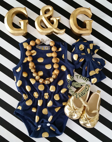 Navy Blue and Gold Polka Dot Baby Girls & Little Girls Tank Sleeveless Bodysuits Rompers