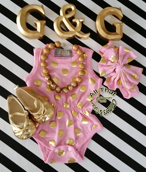 Pink and Gold Polka Dot Baby Girls & Little Girls Tank Sleeveless Bodysuits Rompers