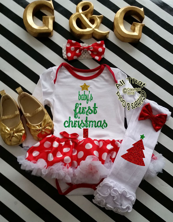 22a6ed593094 Christmas Outfits For Baby Girl - Cute Glitter Holiday LOVE Christmas ...