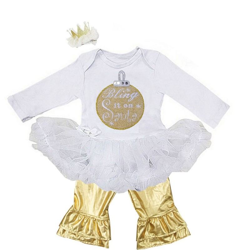 White and Metallic Gold 3 Pc Bling It On Santa Baby Girl Gold Pants Outfit