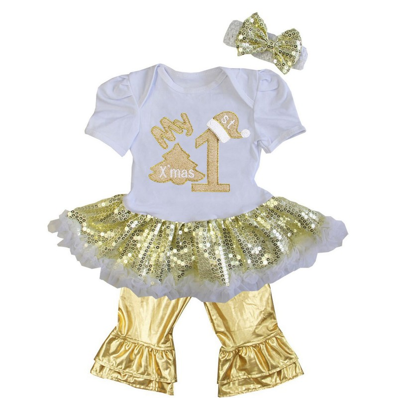 aecb074e5b0c9d #onefun-23 White and Metallic Gold 3 Pc My 1st Christmas Baby Girl Pants  Outfit