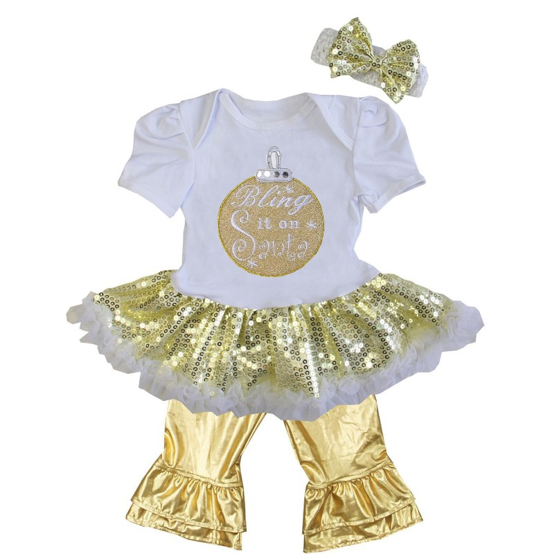 White and Metallic Gold 3 Pc Bling It On Santa Baby Girl Pants Outfit