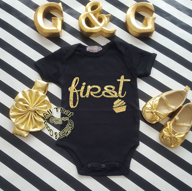 Black and Gold Glitter First Baby Girl Birthday Outfit