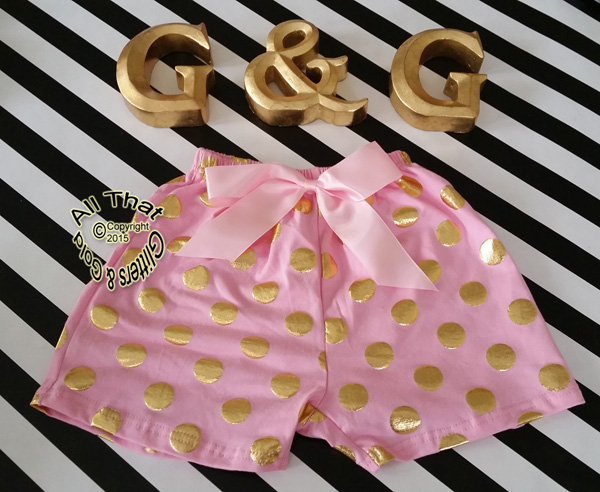 Pink and Gold Metallic Polka Dot Girls Summer Shorts
