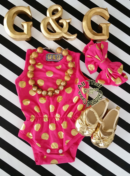 Hot Pink and Gold Polka Dot Baby Girls & Little Girls Tank Sleeveless Bodysuits Rompers