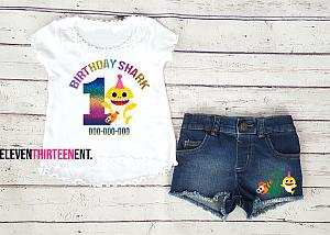 Baby Shark 1st Birthday Outfit With Denim Shorts For Girls