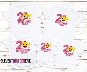 Hot Pink and Yellow Baby Shark Family Birthday Shirts - Can Be Made With Any Age!