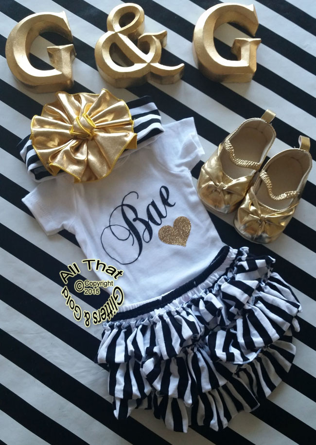 Black and Gold Glitter Bae Baby Girl and Little Girl Shirt