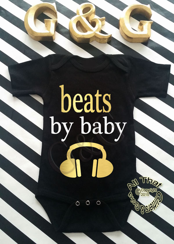 Personalized Black and Gold Beats By Baby Baby Boys Shirt