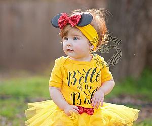 Belle Beauty Beast Birthday Tutu Costume For Baby Girls