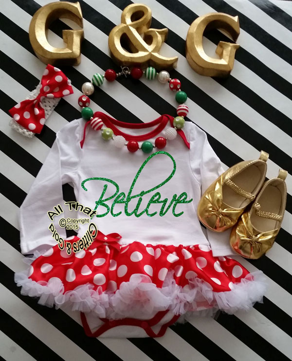 Cute 2 Piece Believe Christmas Glitter Baby Girl Tutu Dress Outfit