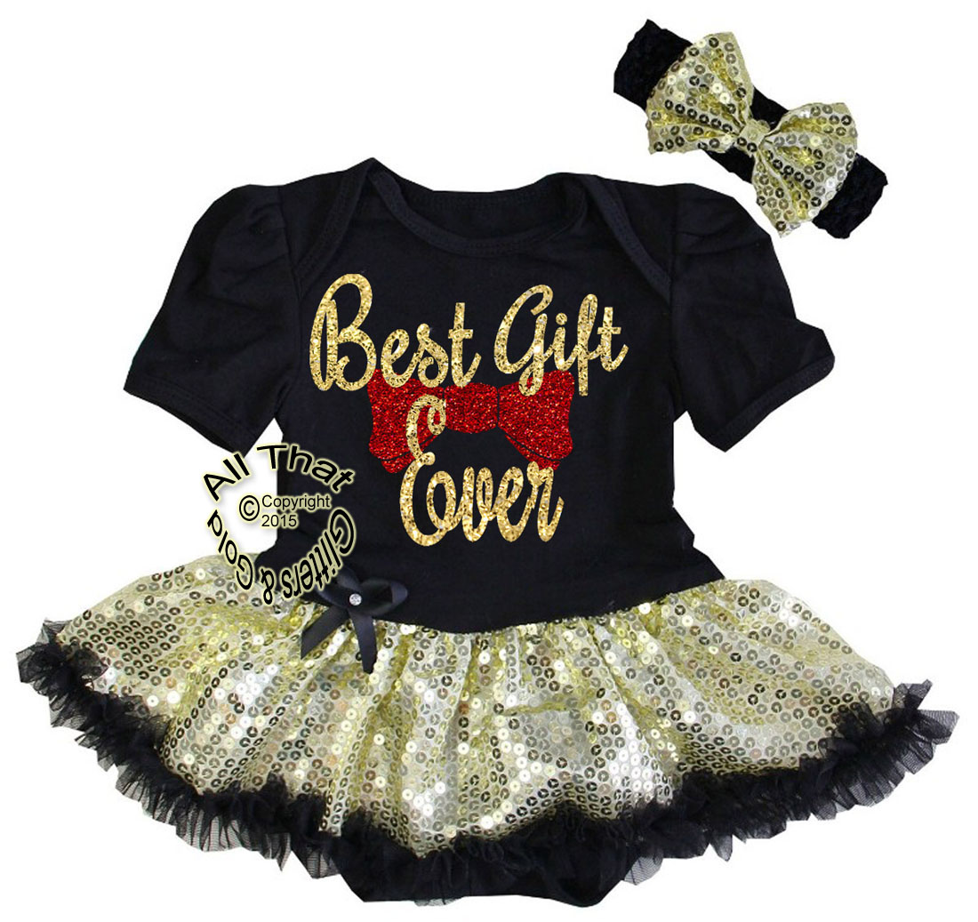 Cute 2 Piece Black Gold Red Glitter Best Gift Ever Coming Outfit For Baby Girls