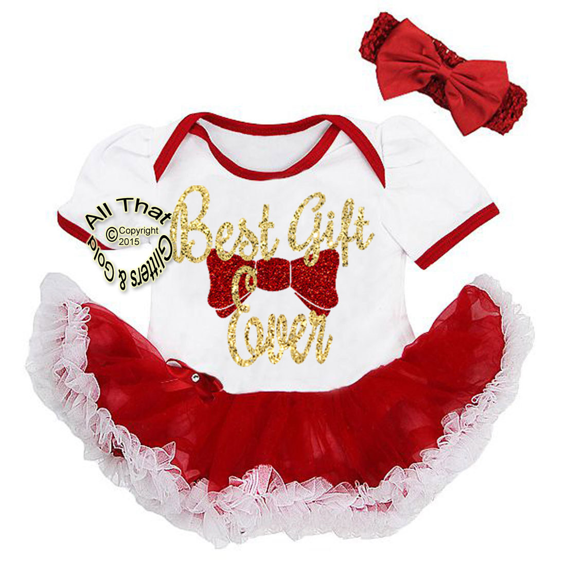 cute 2 piece red and white glitter best gift ever christmas outfit for baby girls