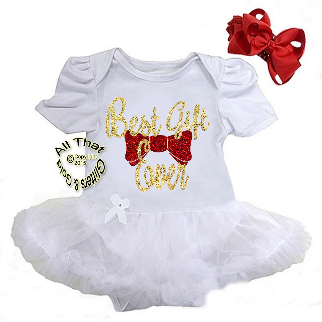 Cute 2 Piece White and Gold Glitter Best Gift Ever Christmas Outfit For Baby Girls