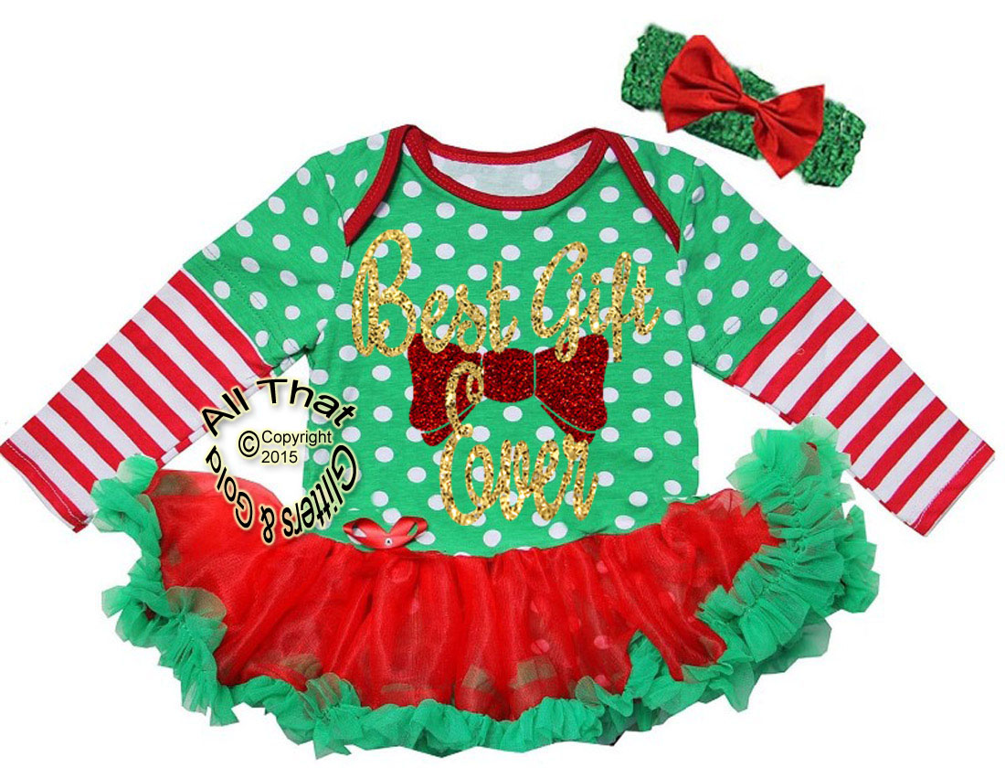 Cute 2 Piece Red, Green Striped Glitter Best Gift Ever Christmas Outfit For Baby Girls