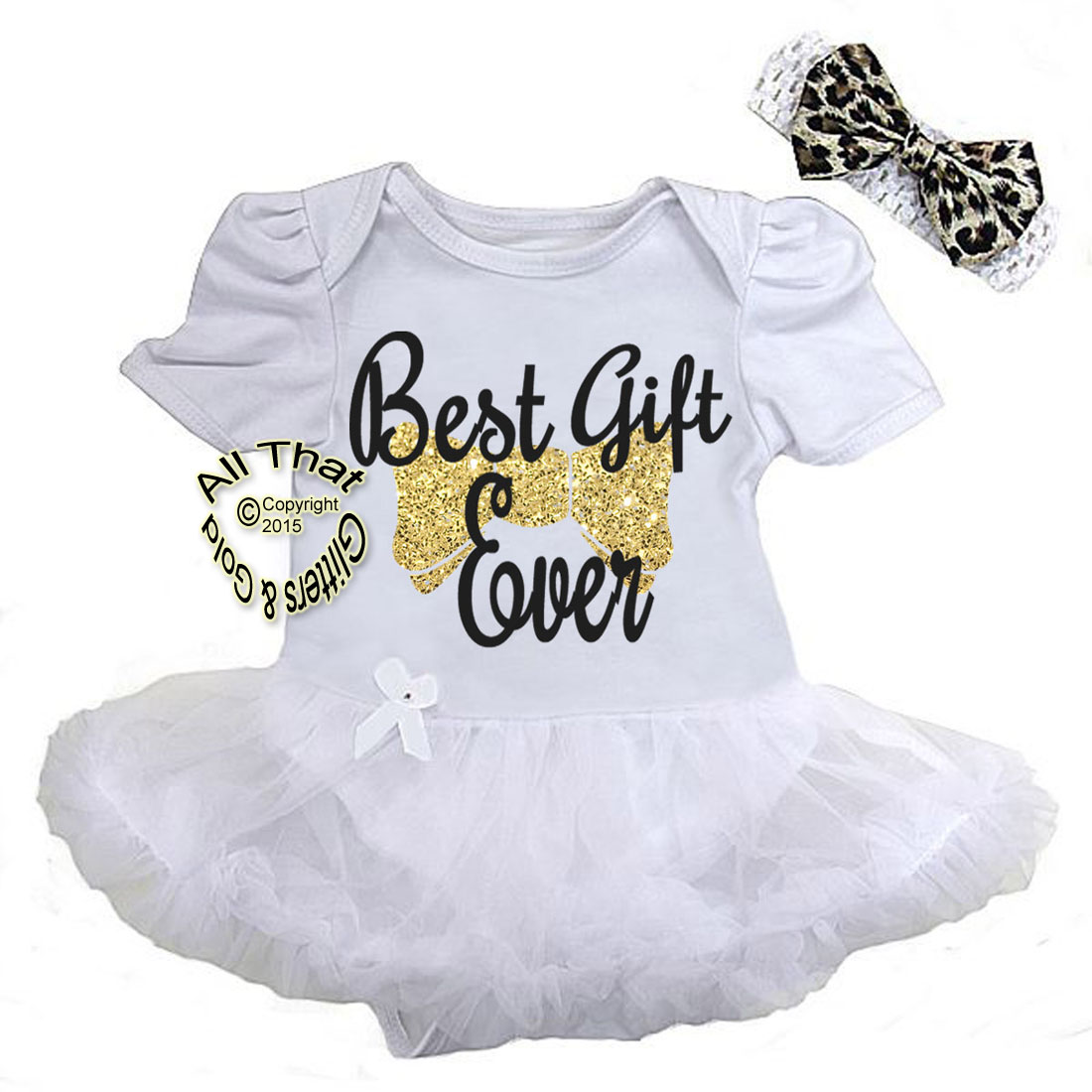 Cute 2 Piece Black and Gold Glitter Best Gift Ever Christmas Outfit For Baby Girls