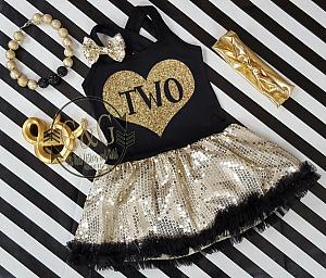 Black and Gold Sequin Birthday Age In Heart Tutu Dresses For Toddler Girls Ages 1-4