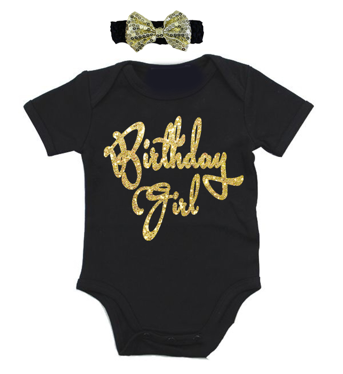 b0ff35c6d #onefun-23 Gold Birthday Girl First Birthday Onesies For Baby Girls