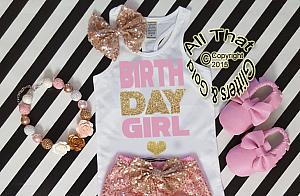 Pink and Gold Glitter Birthday Girl Shirt For Girls