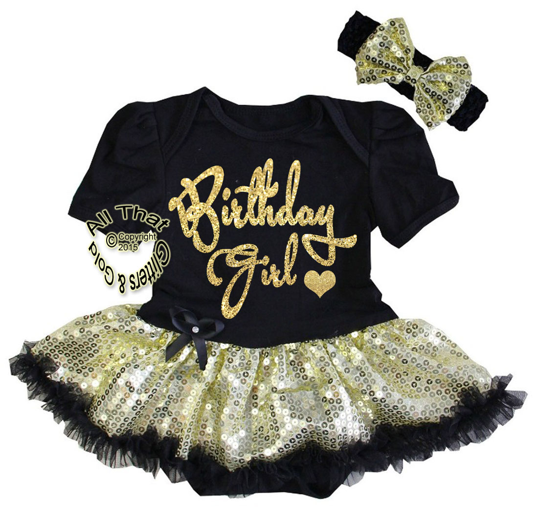 5063859fe9aa Tutu Dresses for Babies First Birthday - Black and Gold Glitter Birthday ...