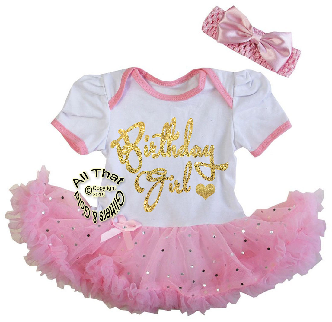 Cute 2 Piece Pink Glitter Birthday Girl Tutu Dresses for Babies First Birthday