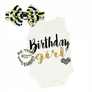 Black and Gold Birthday Girl Shirt or Outfit For 1st Birthday