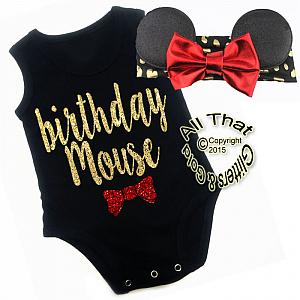 2 Pc Black, Red and Gold Glitter Birthday Mouse Girls Outfit