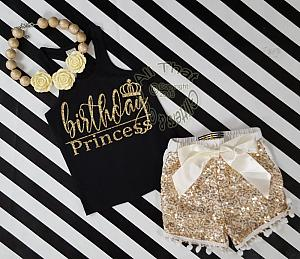 Black and Gold Birthday Princess Outfit With Gold Sequin Shorts