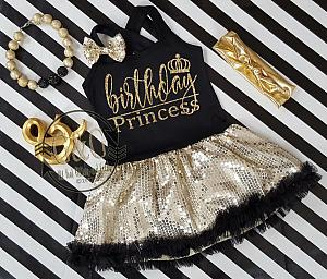 Black and Gold Sequin Birthday Princess Tutu Dresses For Toddler Girls Ages 1-4