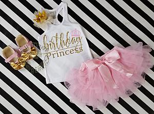 3 PC Pink and Gold Birthday Princess Outfit With Pink Tutu Skirt