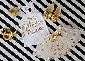 3 pc White and Gold Birthday Princess Polka Dot Birthday Tutu Outfits Age 1-6