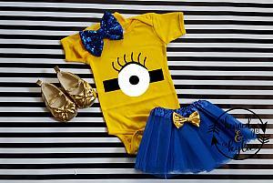 Cute Minion Birthday Tutu Costume For Baby Girls and Little Girls